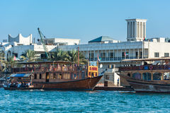 Traditional arabic boat at Dubai creek, UAE. UAE, DUBAI - DECEMBER 27: traditional arabic boat at Dubai Creek on December 27, 2014 Royalty Free Stock Photos
