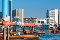 Traditional arabic boats at Dubai creek, UAE. UAE, DUBAI - DECEMBER 27: traditional arabic boats at Dubai creek on December 27, 2014 Royalty Free Stock Photography