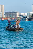 Traditional arabic boats at Dubai creek, UAE. UAE, DUBAI - DECEMBER 27: traditional arabic boats at Dubai creek on December 27, 2014 Stock Photo