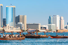Traditional arabic boats at Dubai creek, UAE. UAE, DUBAI - DECEMBER 27: traditional arabic boats at Dubai creek on December 27, 2014 Stock Photography