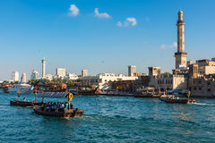 Traditional arabic boats at Dubai creek, UAE. UAE, DUBAI - DECEMBER 27: traditional arabic boats at Dubai creek on December 27, 2014 Stock Image