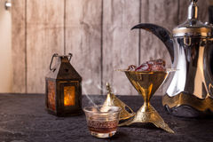 Traditional Arabic Coffee & date. Ramadan Theme of traditional coffee and date Royalty Free Stock Photos