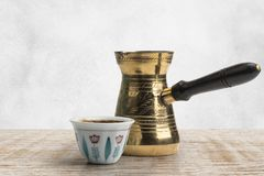 Free Traditional Arabic Coffee Mug And Coffee Cup, Turkish Coffee Isolated On White, Clipping Path Stock Photography - 156483162