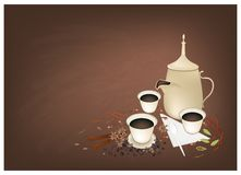 Traditional Arabic Coffee with Spiced on Chalkboard Royalty Free Stock Photography