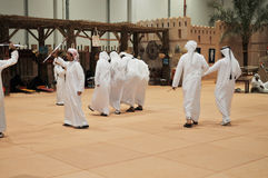 Traditional Arabic Dance at Abu Dhabi International Hunting and Equestrian Exhibition (ADIHEX) 2013 Stock Images