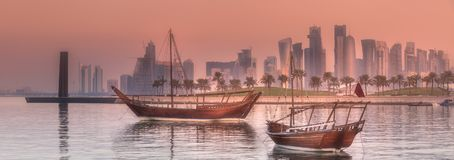 Traditional Arabic Dhow boats in Doha harbour, Qatar.  Stock Photos