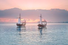 Traditional Arabic Dhow boats in Doha harbour. Qatar stock image
