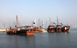 Traditional arabic dhows in Doha Royalty Free Stock Image