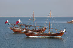 Traditional arabic dhows in Doha Royalty Free Stock Photography