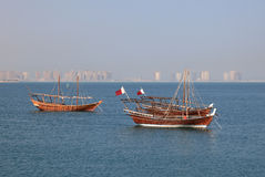 Traditional arabic dhows in Doha Stock Photos