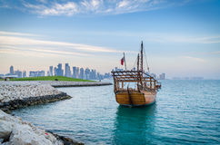 Traditional arabic dhows in Doha, Qatar Stock Photography