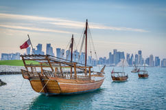 Traditional arabic dhows in Doha, Qatar Royalty Free Stock Photo