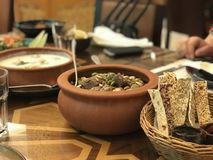 Traditional arabic dishes stock photo
