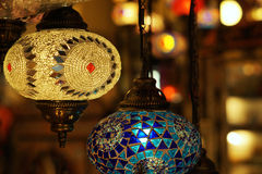 Traditional arabic glass and metal lanterns close up. Traditional arabic glass and metal colorful lanterns Stock Photo
