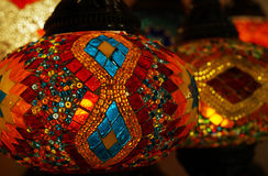 Traditional arabic glass and metal lanterns. Royalty Free Stock Photography