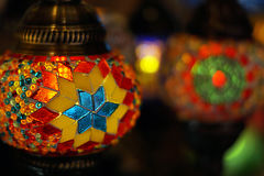 Traditional arabic glass and metal lanterns. Traditional arabic glass and metal colorful lanterns Stock Photos