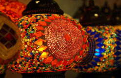 Traditional arabic glass and metal lanterns. Traditional arabic glass and metal colorful lanterns close up Stock Photo