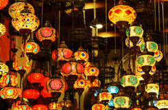 Traditional arabic glass and metal lanterns. Stock Photos
