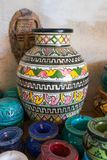 Traditional arabic handcrafted, colorful decorated ceramic for sale at the market in Marrakesh royalty free stock photos