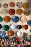 Traditional arabic handcrafted, colorful decorated ceramic for sale at the market in Marrakesh stock images