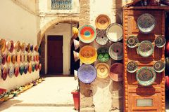 Traditional arabic handcrafted, colorful decorated plates in Mor. Occo Royalty Free Stock Images