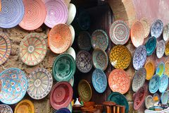 Traditional arabic handcrafted,  decorated plates shot at the market. Traditional arabic handcrafted, colorful decorated plates shot at the market Stock Photos
