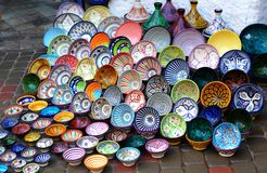 Traditional arabic handcrafted, decorated plates shot at the market. Traditional arabic handcrafted, colorful decorated plates shot at the market Royalty Free Stock Photos