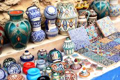 Traditional arabic handcrafted at the market. Morocco Royalty Free Stock Images