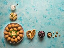 Traditional Arabic kibbeh with lamb and pine nuts. stock photo