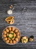 Traditional Arabic kibbeh with lamb and pine nuts. stock images