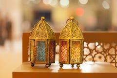 Traditional arabic lanterns lit up in Ramadan. Eid, Diwali in Abu Dhabi, UAE Royalty Free Stock Image