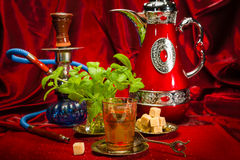 Traditional Arabic mint tea Stock Photo
