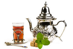 Traditional Arabic mint tea. On white backgroun Royalty Free Stock Photography