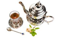 Traditional Arabic mint tea. On white backgroun Royalty Free Stock Photos