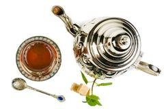 Traditional Arabic mint tea. On white backgroun Stock Photos