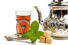 Traditional Arabic mint tea. On white backgroun Stock Photography