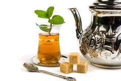 Traditional Arabic mint tea. On white backgroun Royalty Free Stock Photo