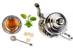 Traditional Arabic mint tea. On white backgroun Stock Image