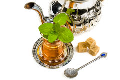 Traditional Arabic mint tea. On white backgroun Stock Images