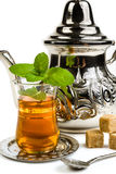 Traditional Arabic mint tea. On white background Stock Photo