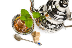 Traditional Arabic mint tea. On white background Royalty Free Stock Images