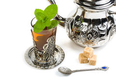 Traditional Arabic mint tea. On white background Royalty Free Stock Photo