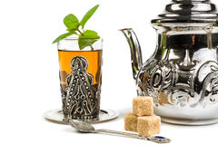 Traditional Arabic mint tea. On white background Stock Images