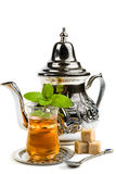 Traditional Arabic mint tea. On white background Stock Photos