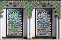 Traditional Arabic Mosaic in Tunisia (Medina). Painted tiles. Traditional historic ornamental mosaic in Tunis city of Tunisia, Africa Stock Photo