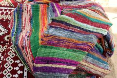 Traditional Arabic multicolored textile. stock photo