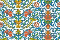Traditional Arabic ornament seamless for your design. Floral ornamental seamless pattern for ceramic tile, desktop wallpaper, royalty free illustration