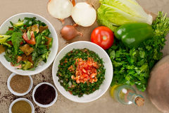 Traditional Arabic salad fattouch and tabbouleh Stock Photo