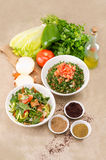 Traditional Arabic salad fattouch and tabbouleh Stock Image