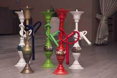 Traditional arabic shisha pipes hookah. Royalty Free Stock Images